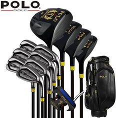 4c815dc99c0 Best Authentic POLO GOLF Cue Kit GOLF Titanium Wood Driver Stainless Steel  12Clubs Set Complete Men 12Covers PU Standard Bag