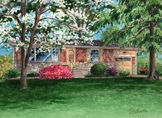 This house portrait depicts a brick ranch that has been in my client's family since and will be a gift for the elderly father who still lives there -- I hope it makes him smile! Watercolor Portraits, Watercolor Paintings, Brick Ranch, Custom Homes, Missouri, Home And Family, Father, House Styles, Board
