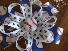 Girl's Baseball Hair Bow ClipTBall Baseball by CreateAndBeJoyful