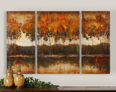 Autumn Lake Shore Triptych, set of 3