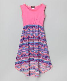 Look at this #zulilyfind! Purple & Pink Hi-Low Dress - Girls #zulilyfinds