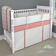 Crib bedding in Solid Light Coral, White Minky Chenille, Coral and Teal Chevron, French Gray Quatrefoil, Silver Gray Linen. Created using the Nursery Designer® by Carousel Designs where you mix and match from hundreds of fabrics to create your own unique baby bedding. #carouseldesigns