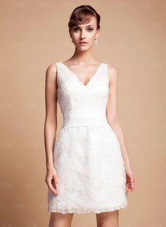 Sheath/Column V-neck Short/Mini Satin Wedding Dress With Lace