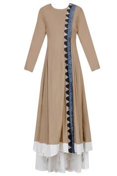 Khakhi printed panel overlap angrakha kurta with off white palazzos available only at Pernia's Pop Up Shop.