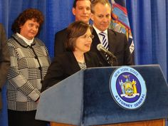 February 21, 2014<br>Assemblywoman Donna Lupardo joins Attorney General Eric Schneiderman in Binghamton to announce details of the Homeowner Protection Program and his plans to combat zombie properties.