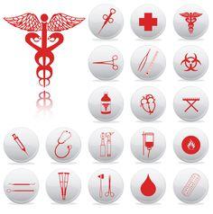 清潔感ある医療器具アイコン Medical equipment icon set vector graphic
