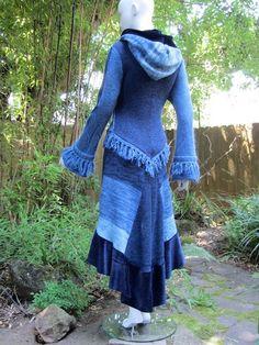 Recycled Sweater Coat 57 ... Light Blue, Sky, Navy. $538.00, via Etsy.