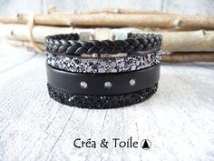 ⋆NOUVEAU⋆Manchette cuir et strass☆NOIR☆fermoir zamak : Bracelet par crea-et-toile