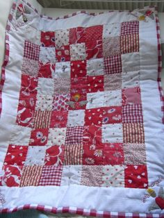 Quilt, Patchwork quilt for babies cot with embroidered 'My little Angel'  £45.00