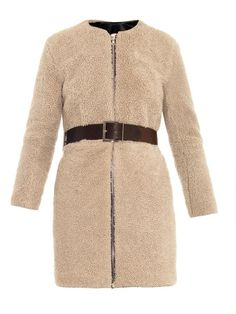 Adam Lippes Shearling and leather-belt coat