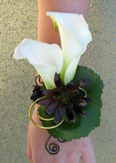 Calla Lily with suculents  Wrist Corsage | February | 2011 | Floral Design By Jacqueline Ahne's Blog | Page 2