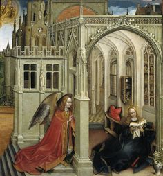 The Annunciation   Robert Campin   1430-40   oil on panel   Museo del Prado, Madrid, Spain