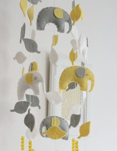 grey and yellow elephant mobile from Etsy shop aprilderek $55