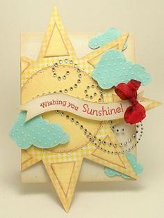 "Fun and whimsical ""wishing you Sunshine"" card--lots of fun layers, shapes, and colors!"
