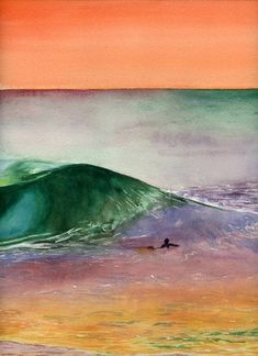 Lone Surfer Watercolor with Bright Beautiful Sunset and Gorgeous Colors