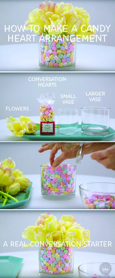 Get the conversation started with this colorful DIY Valentine's Day centerpiece idea. Click to find out how to make this simple centerpiece and get more Valentine's Day party ideas from Hallmark! (Valentins Day Dinner)