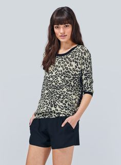 WILFRED BALZAC SWEATER - A washed-down leopard print on silk, cotton, and cashmere