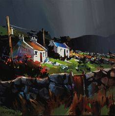 Dark Sky, Connemara Ireland by O'Toole Art, Acrylic, 20 x 20 Irish Landscape, Landscape Art, Landscape Paintings, Landscapes, Connemara Ireland, Canadian Painters, Irish Art, Celtic Art, Watercolor Landscape
