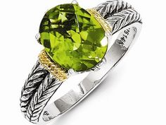 S/S AND 14KY OVAL CHECKERED PERIDOT SZ.7   $149.00 | Colored Gemstone Rings from Georgetown Jewelers | Wood Dale, IL