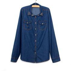 Stylish Stud Embellished Long Sleeve Women's Denim Shirt