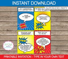 Type your own text into this HUGE Superhero Birthday Party Decorations & Invitation package.  INSTANTLY DOWNLOAD this digital PDF file that you personalize at home. Edit and print each page as many times as you like.  You type your own wording into this pack by yourself - just open the file in Adobe Reader and type over my sample text.  ------------------------------------------ WHAT YOU WILL RECEIVE ------------------------------------------ You will receive ALL of the following digital ...