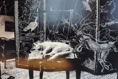 Sebastiaan Bremer, Little Cat In The Studio,  2011, hand-painted chromogenic print with mixed media