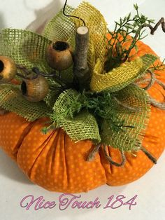 Fabric pumpkin, stuffed pumpkin, harvest pumpkin with burlap leaves and natural . - Fabric pumpkin, stuffed pumpkin, harvest pumpkin with burlap leaves and natural wooden stem - Autumn Crafts, Fall Crafts For Kids, Holiday Crafts, Diy And Crafts, Burlap Crafts, Fabric Crafts, Kids Diy, Burlap Projects, Decor Crafts