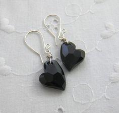 Black Heart Earrings Swarovski crystal by JulieEllisDesigns