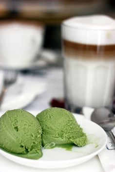 ... | White chocolate ice cream, Matcha ice cream and Lavender ice cream
