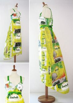 Upcycled dress made from food packaging (boxes and wrappers). PD