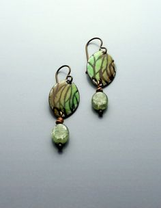 Torch-fired enamel earrings, nature, semi precious stone, greens, browns