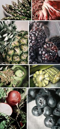 Exploring a wide range of organic forms within a visually cohesive fruit and vegetables theme, Sucha's artwork contains a wide range of textures, shapes and patterns. Shadows and highlights communicate vast depth, with tone built up in layers. Compositions emphasise not only the fruit and vegetables, but the deep shadows and spaces between them.
