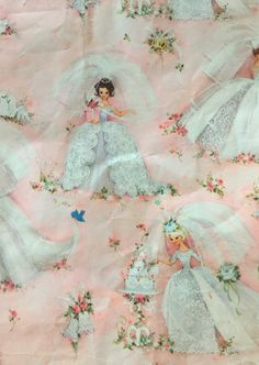 Lovely brides Wrapping Papers, Vintage Wrapping Paper, Vintage Cards, Vintage Images, Wedding Illustration, Illustration Art, Illustrations, Barbie Dolls Diy, Diy Doll