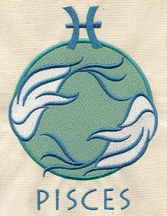 Pisces Astrology Embroidered Flour Sack by EmbroideryEverywhere