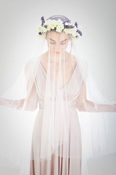 Drop Veil/Flower Crown Veil/Church by loveyoubridedesign on Etsy