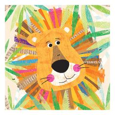 Found it at Wayfair - Peeking Jungle Buddies - Lion Canvas Art