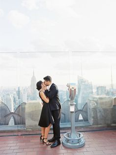 Timeless New York City Engagement Session in a Black Dress