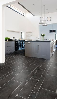Slate effect kitchen flooring from the Cavalio Conceptline collection of luxury vinyl flooring tiles (Grey Slate)