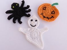 Crochet applique3 halloween appliques  cards by MyfanwysAppliques, £2.75