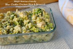 Weight Watchers Friendly Slow Cooker Chicken, Rice and is a great dish when you're craving a comforting casserole. 226 calories + 7 Weight Watchers Points Plus. http://simple-nourished-living.com/2013/10/slow-cooker-chicken-rice-broccoli/
