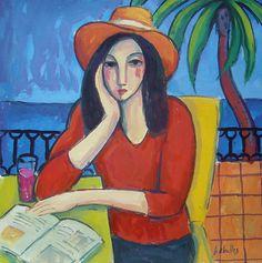 Mujer en la terraza (2015) Gouache sobre papel, 24x24 cm Guillermo Martí Ceballos