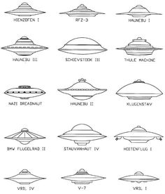 Various Germany Flying Saucers.  Double Click on Image for full story.