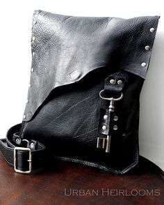 Black leather #steampunk #rocker #biker bag by UrbanHeirlooms, via Flickr