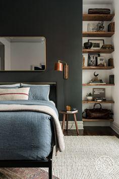 Hermoso detalle de repisas en madera para una habitación.