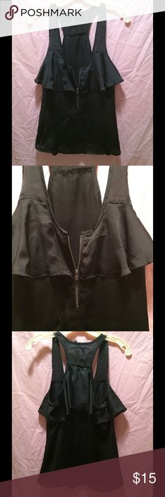 Silky black blouse Silly black blouse with ruffle and front zipper Ali & Kris Tops Blouses
