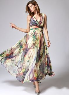 General X-line Dress Multicolor Day Dresses Elegant Chiffon Maxi XS Floral Sleeveless V-Neckline S M L XL Dress Dresses Elegant, Affordable Dresses, Vintage Dresses, Vestidos Vintage, Chiffon Floral, Floral Maxi, Chiffon Maxi Dress, Manga Floral, Long Sleeve Maxi