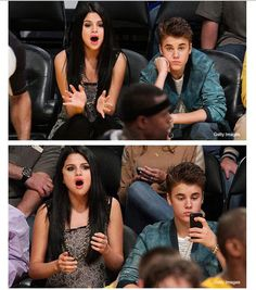 Looks like Justin Bieber is filling out the girlfriend role at a basketball game pretty dang well....(: