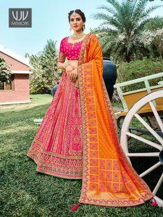 Rs13,000.00 Orange Lehenga, Raw Silk Lehenga, Banarasi Lehenga, Indian Lehenga, Silk Dupatta, Saree, Lehenga Choli Online, Bridal Lehenga Choli, Party Wear Lehenga