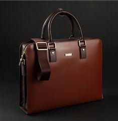 PILAEO Elite Business Mens Leather Shoulder Red Brown Bag | www.pilaeo.com