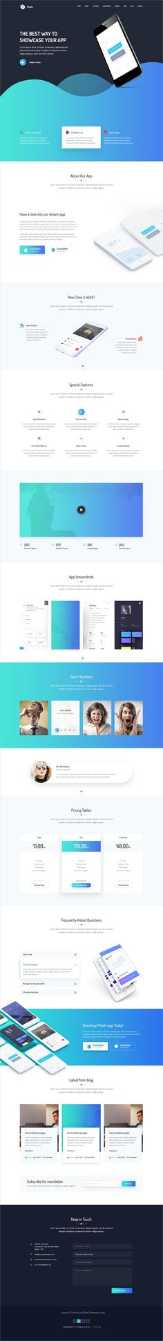 Pixels is clean and modern design #Photoshop template for creative #apps landing page website with 10 homepage layouts and 17 layered PSD pages download now..